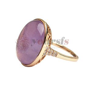Yoursfs Superbe 18 K Rose et Or Blanc Plaqué Violet Clair et Jade Vert Moonstone Opal Pendentif Bague Pour Femmes Anneaux Jewerly