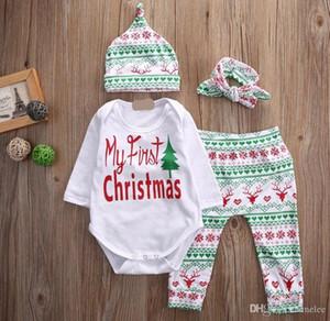2017 Newborn Natale 4 PZ Abiti Bambino Cervo cervo fiocco di neve Autunno Inverno Vestiti Pagliaccetto Pantaloni cappello fascia Pigiama 0-2anni