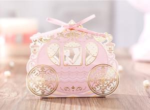 웨딩 부탁의 사탕 상자 캐리지 초콜릿 선물 상자 낭만적 인 레이스 종이 사탕 상자 파티 호의 할로우 웨딩 사탕 상자의 호의