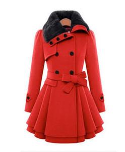 Abrigo de lana largo de las mujeres del invierno vestido de moda delgado doble botonadura Espesar Abrigo Chaqueta rompevientos Abrigo de mezcla de lana de las señoras con cinturón