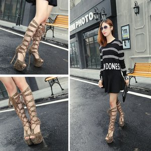 35 To Summer Heels Leopard Long Women Lace Up 16CM Ultra Size Open Toe High Shoes Out Boots Knee Hollow 40 Obsmu