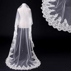 Оптово-белое кружевное длинное свадебное платье свадебные вуалии Vestido de Noiva Свадебные вуали Длинные свадебные завесы охватывает голову вуали