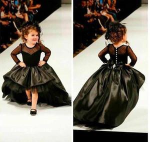 Симпатичные черные высокие низкие девушки театрализованное платье принцессы бальное платье партии кекс довольно маленькие дети Королева цветок девушка платье с длинными рукавами