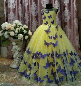 Pageant Jaune Robes Avec Papillon Longueur De Plancher Tulle Sans Manches Filles D'anniversaire Partie Robe 2013