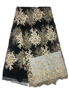 Best Selling Swiss Voile Laces African Lace Fabric Gold Color Nigerian French Fabric 2017 High Quality African Tulle Lace Fabric GYNL134
