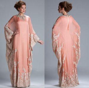 Gelin Elbise Artı Boyutu 2019 Yeni Şifon Kaftan Dubai Arabian Abiye Uzun Kollu Aplikler Dantel Gömme Müslüman Anne