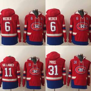 Erkek Montreal Canadiens Hoodies Hokeyi Jersey 6 Shea Weber 11 Brendan Gallagher 31 Carey Fiyat Sweatshirt Kış Ceket Ücretsiz Kargo