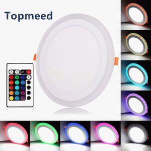 Акриловые Диммируемый двойной цвет белый RGB Embeded Светодиодная панель 6W 9W 18W 24W светильник встраиваемый свет Внутреннее освещение с дистанционным Controlle