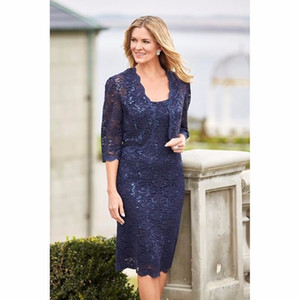 Navy Blue Mother of the Bride Dresses With Jacket Elegant Sheath Lace Knee Length Short Women Wear Evening Wedding Guests Party Dress