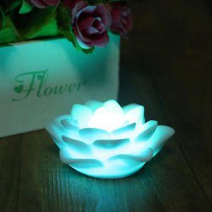 Venta al por mayor- 8pcs Venta Romántica Siete Cambios de Color LED Flor de Loto Luz Nocturna Festival Fiesta de Bodas Bar Decoraciones Atmósfera Lámpara