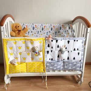 Wholesale- Storage Bag Baby Cot Bed Hanging Bag Crib Organizer Toy Diaper Pocket for Crib Bedding Set Bed Bumper 54*59cm QB878874