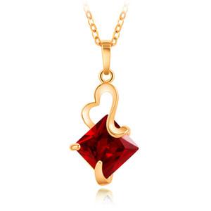 أحدث الأمريكية والأوروبية الحلي جديد مطلية بالذهب والمجوهرات كريستال القلب قلادة الأزياء والمجوهرات القلائد بنات سيدة قلادة