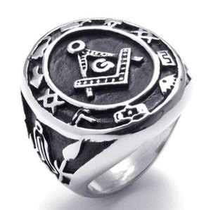 Символ Freemasonry отливки нержавеющей стали 316L Freemasons звенит SZ#8-15 ,свободные и принятые Masons