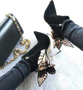 ربيع الخريف أجنحة الملاك سيدة أشار تو مثير الخنجر عالية الكعب أحذية الفراشة الأسود الجلد المدبوغ المرأة الكاحل أحذية t- مرحلة مضخات 35-42