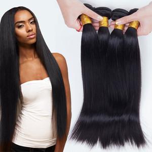 Brasiliana Capelli lisci tesse 4 Bundles testa completa al 100% non trattati Virgin capelli umani di Remy tesse le estensioni colore nero naturale