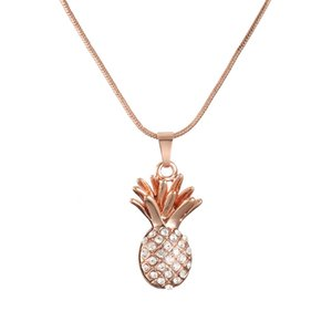 30 шт. / Лот ожерелье свитер фрукты ананас кулон ожерелье с чешским бриллиантом розовое золото и серебро византийская коробка звено цепи ювелирные изделия