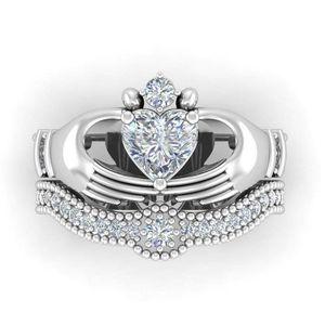 Top Vente en gros anneau de coeur bijoux à la mode 10KT WhiteBlack or rempli Dropshopping Sapphire Claddagh femmes anneau de mariage nuptiaux