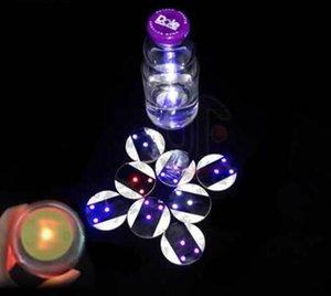 Toptan Düğün masa dekorasyon ışık etiket led şişe sticker coaster