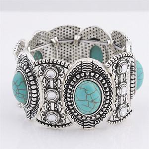 trasporto libero all'ingrosso braccialetti turchese gioielli moda braccialetto turchese verde braccialetto retrò argento placcato con cristallo TB0001