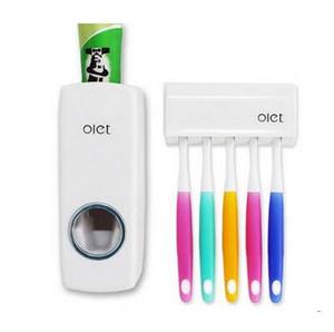 1 juego de cepillo de dientes automático dispensador de pasta de dientes + 5 cepillo de dientes titular de cepillo de dientes soporte de montaje en pared herramientas de baño