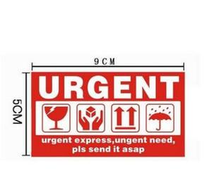 Etiquetas engomadas 1000pcs FRAGILE Entrega urgente etiquetas de advertencia de sellado logística internacional expreso 9x5cm