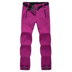 Calças de esqui de inverno mulheres solft shell calças plus size calças de neve à prova d 'água engrossar fleece calças de snowboard calças de caminhada