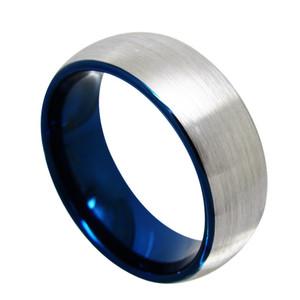 Bague de doigt de bijoux de mode de centre de brosse de 8mm Brisht Blue Tungsten