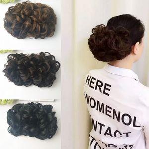 Sara Yeni Şık! Kinky Kıvırcık Saç Bun Klip Saç Parça Gelin Bun Chignon Saç Uzatma Postiş 21 CM * 15 CM