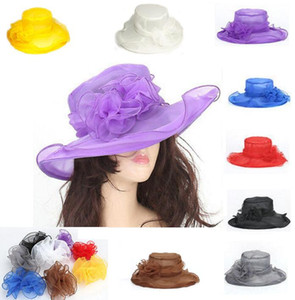 Chapeaux d'église de femmes élégantes de la mode pour les femmes Fleur Chapeau Été Gorras Chapeau De Soleil De Mariage Du Kentucky Derby Large Bord Mer Chapeau