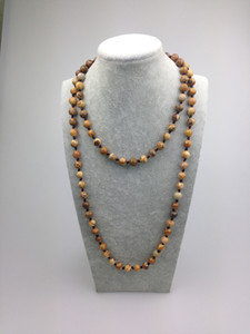 ST0009 8mm Nuovo design Picture Jasper Stone Bead Necklace Making 42 pollici Long picture stone necklace