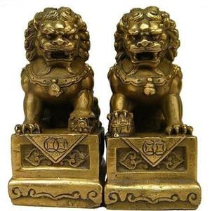 Venta al por mayor barato de latón chino Fengshui Foo Fu Dog Guardion puerta estatua del león 1 par / 2 unids envío gratis