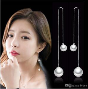 OL moda lungo paragrafo nappa perla filo orecchio ipoallergenico coreano moda gioielli in argento produttori, orecchini all'ingrosso fungo bianco