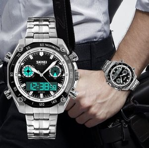 Dual Time Display Multifunction Stainless Steel Strap Wrist Watch Chrono Alarm Men Watches 1204