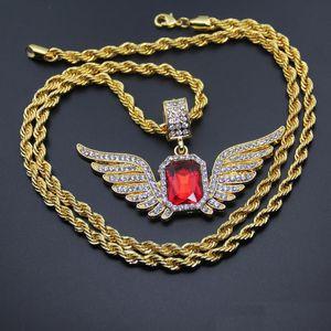 Hip Hop Angel Wings с большой красный камень ожерелье 76см Веревка Цепи Rhinestone инкрустированные крыла necklack Мужчины Женщины Iced Out ювелирные изделия