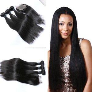 huihao_hairs Braccialetti vergini brasiliani vergini non pettinati a buon mercato Fasci del tessuto dei capelli umani brasiliani con chiusura in pizzo 4x4 Colore naturale