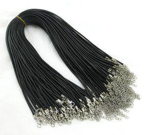 100 stücke 1,5mm Schwarz Wachs Leder Schlange ketten armbänder Friesen Schnur String Seil Draht 45 cm + 5 cm Extender armband ChainLobster Verschluss DIY