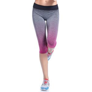 Atacado-Mulheres de Fitness Esporte Calças Stretch Ginásio Leggings Cropped Calças Athletic