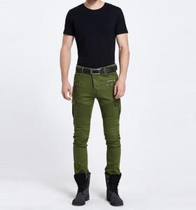 2016 Männer Schwarz / grün Biker Jeans elastische Herren Slim Fit Stretch Skinny Hosen Große Tasche Denim Biker Jeans
