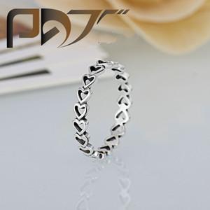 Hohe Qualität 925 versilbert Ehering Frauen Pandora Style Herzen mit Herzen Ring für Lady Valentinstag Geschenke paar Ringe