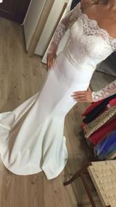 Выполненный на заказ белый Русалка 2016 Свадебное платье принцессы Bateau с длинным рукавом Кружева Бич Свадебные платья атласная Дешевые Плюс Размер Свадебные платья 14