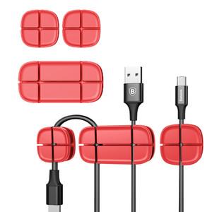 Baseus Cabo Clipe mesa arrumada Fio Gota chumbo USB Charger Cord Titular Organizer Titular Linha Acessórios clipes de cabo de desktop