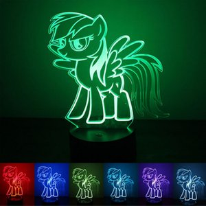 Pony night light usb alimentation bouton-style sept couleurs led creative 3d maison chambre exposition hall couloir atmosphère