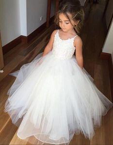 Adorável branco flor menina vestidos de tule inchado primeira comunhão vestido para meninas espaguete para o casamento formal vestido de festa BM0990