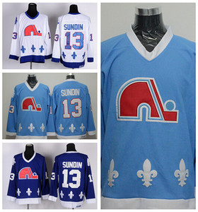 Квебек Nordiques 13 Коврики Сундин Хоккей Трикотажные Изделия Спорт Главная Темно-Синий Белый Дорога Прочь Сшитые Лучшее Качество На Продажу