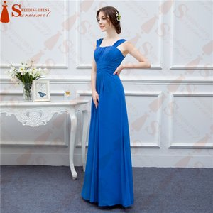 Chiffon Royal Blue Long Evening Dresses Floor Length Scoop Neck With Spaghetti Straps Prom Dresses Free Shipping