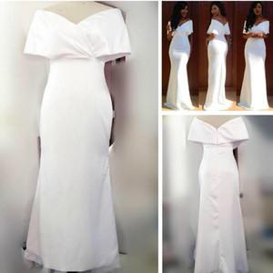 Новый Белый Сатин ASO EBI Африканские Свадебные платья Нигерия Длинные Платья невесты Невесты Официальные Платья Формальные Вечеринки