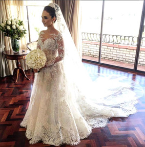 2017 Vintage Sheer Long Sleeves Lace A line Wedding Dresses Tulle Applique Court Train Bridal Wedding Gowns Arabic Vestido De Novia BA3455