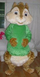 0524 ücretsiz kargo yetişkin yeşil alvin sincap maskot kostüm satılık mini fan ile başlık