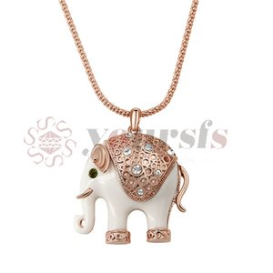 Yoursfs 18K oro rosa plateado Shinning Rhinestone cerámica elefante colgante suéter cadena collar