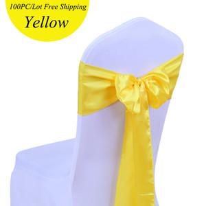 100pc / Pack 18X275cm Satin Chair Sash Fiocco Nastro in raso cravatte da sposa telai per sedie Festival colorato forniture 24 colori fiocco in raso per matrimoni